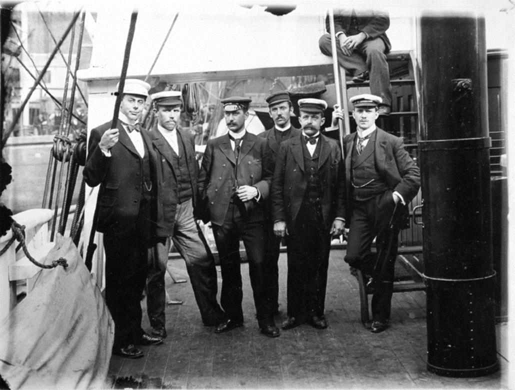 The scientific staff on the ship before sailing south from Australia. From left: Nicolai Hanson, William Colbeck, Herlof Klovstad, Anton Fougner, Louis Bernacchi.