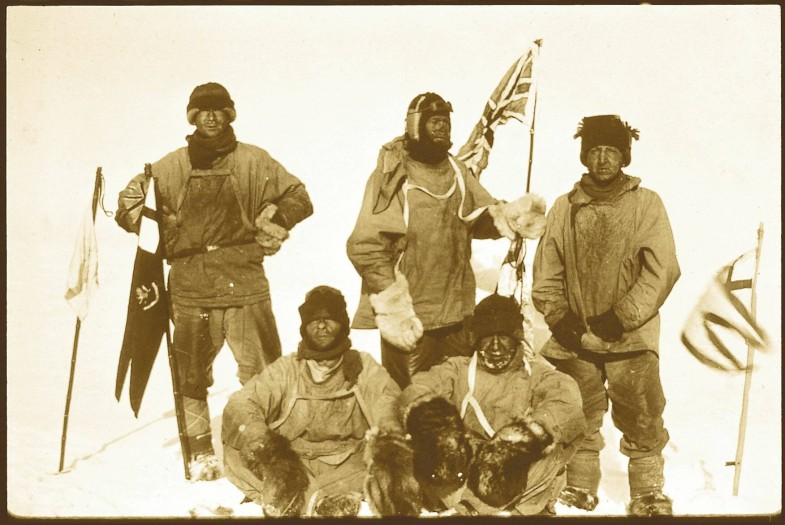 Clockwise from top left: Wilson, Scott, Bowers, Oates and Evans at the South Pole 1912