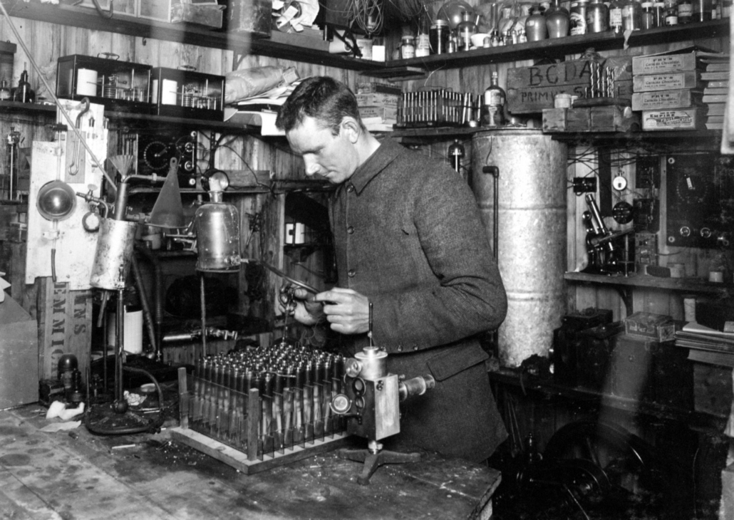 Expedition meteorologist Dr Simpson in his laboratory, 21 December 1911.