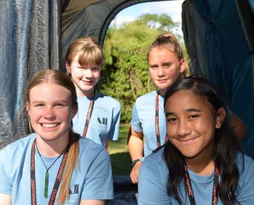 L-R: Audrey Woolford, Emily Easterbrook, Rania Jellick-Ewen, and Amy Whippy camping out for the night.