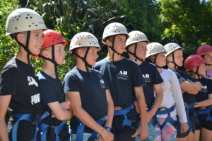 Worsley Weekend students ready to take on the high ropes course.